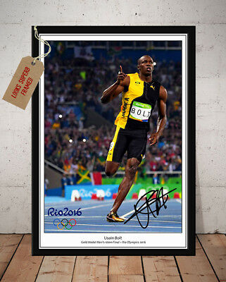 Usain Bolt Rio Olympics 100M Final 2016 Autographed Signed Photo Print