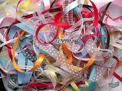Bundle Of Craft Ribbons -Mixed Colours, Pattern And Widths - 1 Metre Lengths,