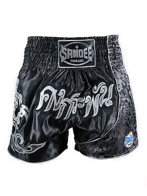 Sandee UNBREAKABLE Muay Thai Shorts - Black/Sliver Thai Boxing Shorts Adult and
