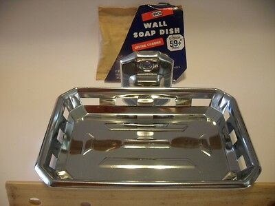 Vintage NOS AUTOYRE CHROME SOAP DISH Holder By Ekco Wall Mount Kitchen Bathroom