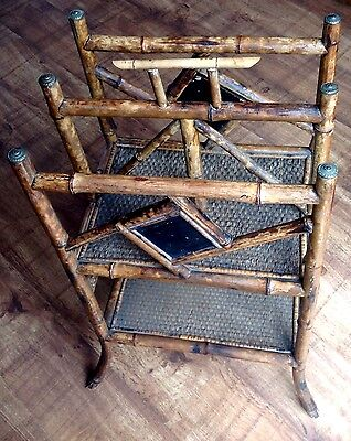 Victorian Bamboo Newspaper Music Stand Magazine rack