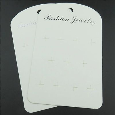 50X 121mm White Paper Hook Stud Earring Fashion Jewelry Hang Holder Display Card