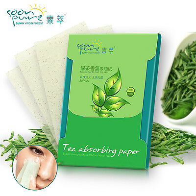 80sheets Make Up Green Tea Scent Oil Absorbing Blotting Facial Face Clean Paper