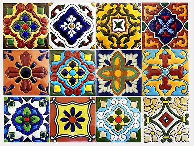 Tile Stickers 40pc Kitchen Bath Floor Mexican Talavera TR001  mix