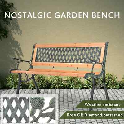 Rose/Diamond Pattern Garden Bench Outdoor Seating Wood Backrest Furniture Iron
