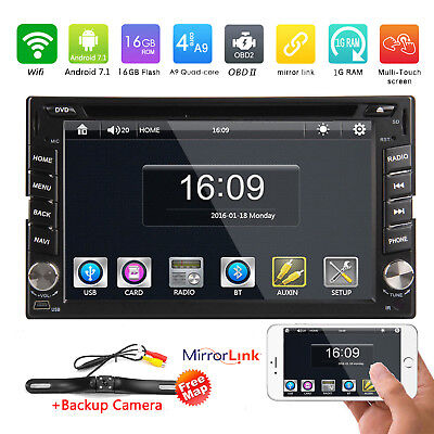 Android7.1 Double 2Din Car Stereo GPS DVD Player Radio WiFi 4G+MAP+Backup Camera