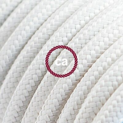 White electrical fabric cloth covered cord cable  covered 1 m RM01