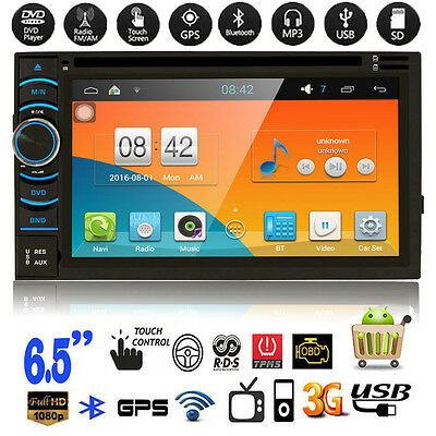 "6.5"" Double 2DIN Car Stereo CD DVD MP3 Player GPS FM/USB/SD/AUX/BT Radio Android"