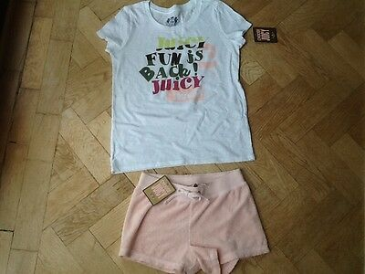 NWT Juicy Couture New & Gen. Girls Age 8 Pink Cotton Shorts & T-Shirt With Logo