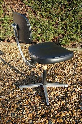 Rare Vintage Retro Industrial Black Leatherette Swivel Seat - made by omal