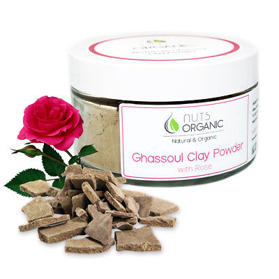 MOROCCAN NATURAL GHASSOUL (RHASSOUL) CLAY POWDER WITH ROSE 200g FOR BODY & HAIR