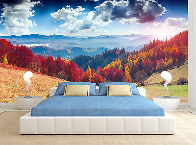 Trees Sky Clouds Colours View Forest Wall Mural Photo Wallpaper GIANT WALL DECOR