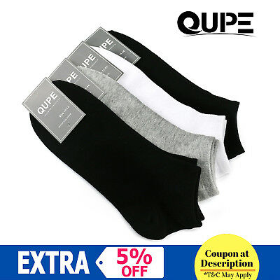 12 PK QUPE Men Women Low Cut Ankle Sports Cotton Socks Size 2-8,6-10,11-14