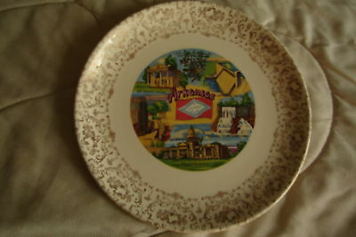 The State of Arkansas Vintage Souvenir Plate Historical Places Gold Trim