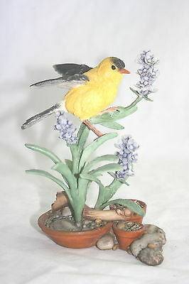 Country Artists Bird Figurine Goldfinch on Lavender