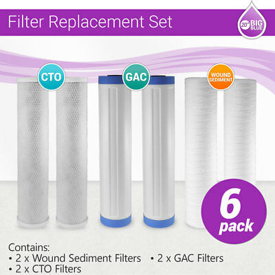 """20"""" x 4.5"""" Big Blue Whole House GAC, CTO and String Wounded Filter Replacment"""