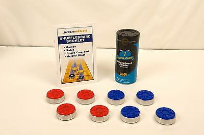 Table Shuffleboard Puck Weights + 1 Can Powdered Wax Sand Dust+Rule Book