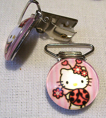 Clip Pince Bretelle, Crocodile, Attache Tétine - Chat Kitty Coccinelle