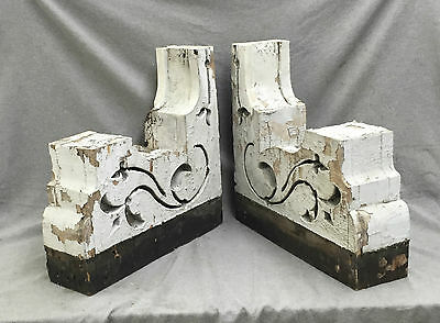 Antique Pair Wood Corbels Gingerbread Old Shabby Cottage Cornice Chic 1483-16