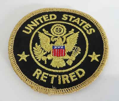 "UNITED STATES RETIRED ARMY Embroidered Souvenir PATCH 3"" iron on BLACK"