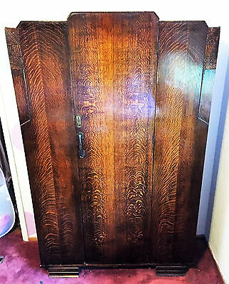 Art Deco Tiger Oak Armoire Wardrobe, Sunrise/Sunset Deco Detail, Gorgeous!