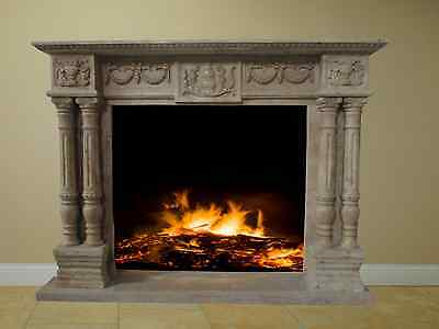Golden Travertine Fireplace Surround Mantel Marble Living Room Family FPS-07