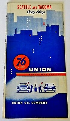Vintage UNION 76 Oil MAP Gas SERVICE Station ROAD Travel SEATTLE Tacoma WA 1956