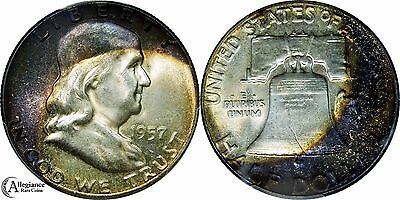 TWO (2) Coins! MATCHING PAIR Mint Bag Rainbow Color Franklins - 1957 PCGS MS66!