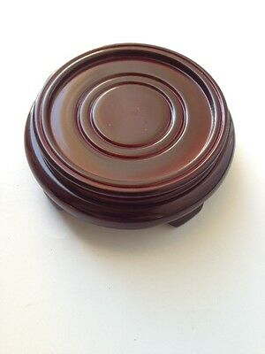 """4.75"""" Oriental Chinese Vase Pot Hand Carved Rosewood Bowl Stand Base"""