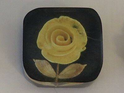 Vintage Lucite Button - Back Carved Yellow Rose, Square Shape