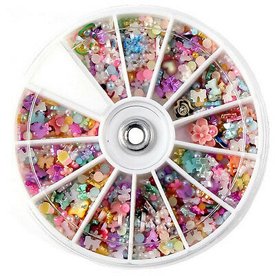 1200pcs DIY Accessories Manicure 3D Mixed Nail Art Tips Glitter Rhinestone Slice