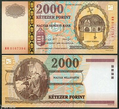 Hungary - 2000 Forint 2000 UNC, Pick 186, Commemorative