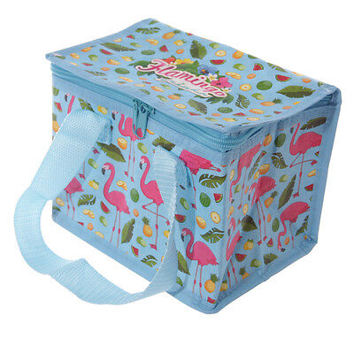 Flamingo Design Woven Foil Insulated Lunch Box Picnic Cool Bag Stocking Filler