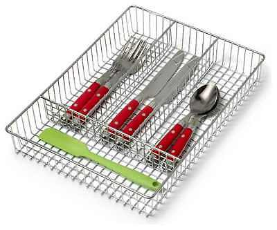 Metal Chrome Cutlery Tray Holder Drawer Organiser Storage 4 Compartment Kitchen