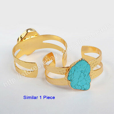 1Pcs Blue Howlite Turquoise Open Band Cuff Bangle With Gold Plated Edge HG0210