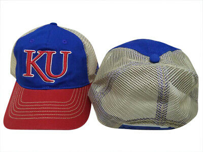 huge selection of 6d33d df84c Kansas Jayhawks NCAA Adidas Blue Red Mesh Adjustable Snapback Hat Cap