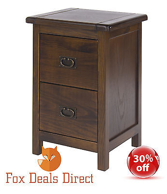 Bedside Cabinet Table Petite Dark Wood 2 Drawer Boston Range Bedroom Furniture