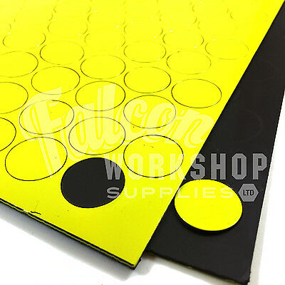 119 x YELLOW 20mm DIAMETER 0.85mm THICK MAGNETIC DOTS ROUND DISC MAGNETS