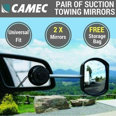 Pair of Camec Towing Mirrors Universal Fitting Suction Cup Caravan RV Mirror 2x