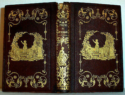 1846 Antique Decorated Leather Binding ; Poems of Felicia Hemans , Engravings