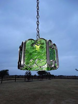 15066 Vintage Hanging Wrought Iron Lamp Light w Green Glass Spanish gothic