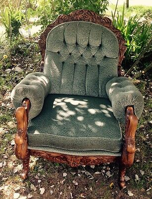 Vintage Carved Armchair . Green Button Back. Spoon Back. Single Chair. Carved