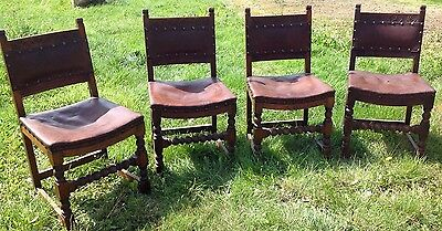 Set Of 4 Vintage Oak Dining Chairs With Hide Seats . Restoration Project