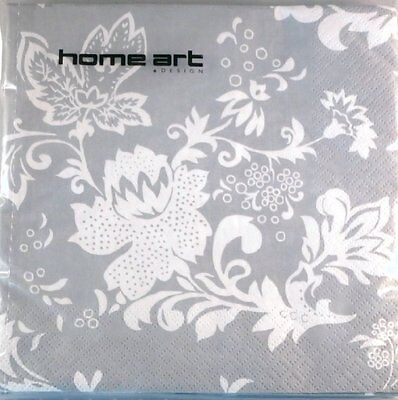 Home Art - Grey and White Floral Paper Napkins (3-ply pack of 20)