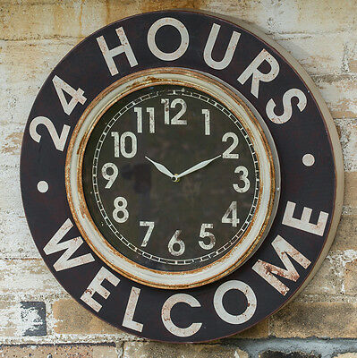 """Vintage Inspired Industrial Large Welcome Sign 24 Hours Wall Clock-22"""" diameter!"""