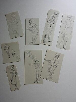 8 small pen and ink military men sketches