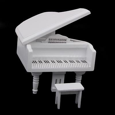 1:12th Miniature Classic White Wooden Piano Stool for Dolls House Furniture