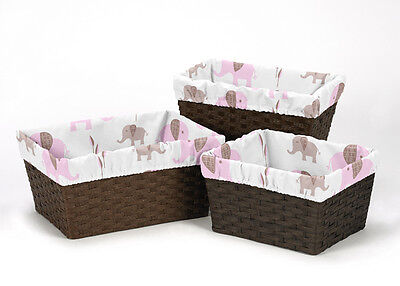 Pink Elephant Organizer Storage Kids Basket Liners Fits Small Medium Large Bin
