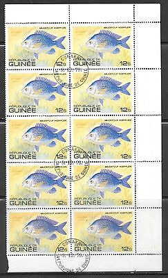 Guinea - 1980 Fish USED Partial Sheet