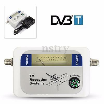 Mini Digital DVB-T Finder TV Signal Strength Meter Battery Case Cable Compass